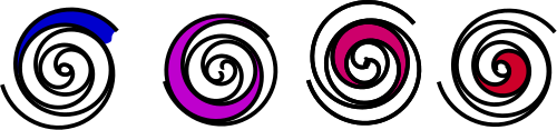 Arbeitsphasen des Scroll-Verdichters: Eintritt, Kompression und Austritt des Gases (von links nach rechts)